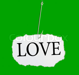 Word LOVE on a fishing hook