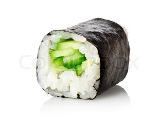Sushi with a cucumber