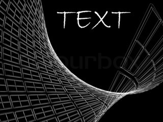 Abstract architectural 3D construction and text