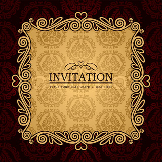 Abstract background with antique, vintage frame and banner, red damask wallpaper with ornamental, gold invitation card, baroque style label, fashion pattern, graphic ornaments for decoration, design