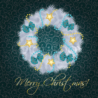 Realistic christmas wreath on vintage background vector illustration