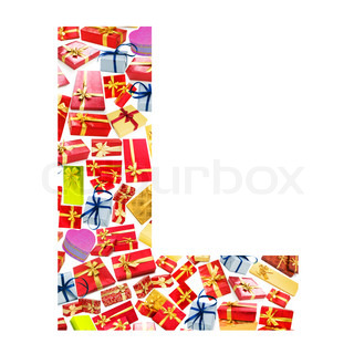 L Letter - Alphabet made of giftboxes