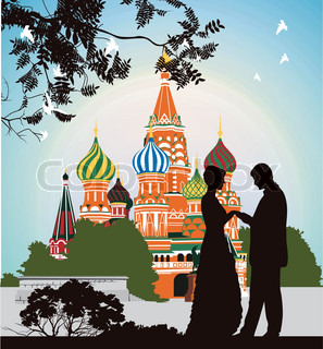 Man does offer a woman on the Red Square