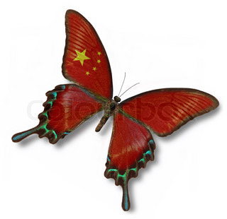 Chinese flag on butterfly isolated on white