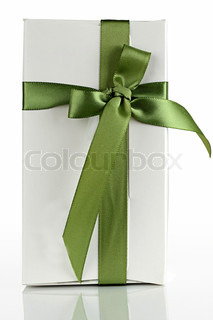 White cardboard box with a green ribbon