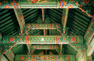 Gyeongju Temple Colourful Traditional Painted Ceiling