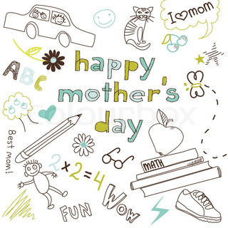 Mother's day card in a style of a Child's drawing