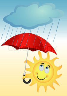 Illustration of the sun with a red umbrella under a rain