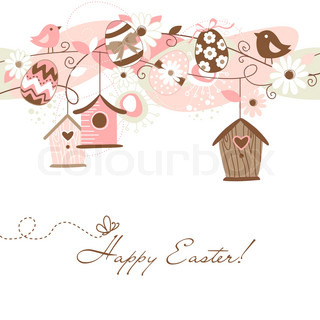 Beautiful Spring backgroun with bird houses, birds, eggs and flowers