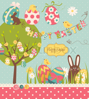 Easter Extravaganza Big Easter set with cute chocolate rabbit, colourful eggs, chicks, Easter tree and a Clothesline with letters on it Ideal for scrapbooking