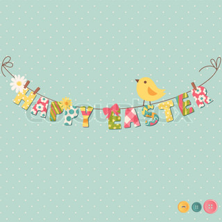 Cute Happy Easter card Clothesline with letters on it
