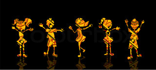 Children Silhouettes with Texture on Black Background