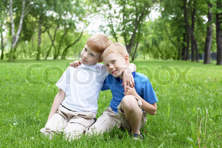 Portrait of two boys outdoors
