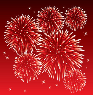 vector red fireworks background