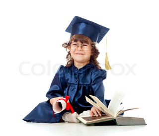 Little girl child in academician clotheswith roll and book