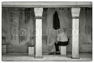 Muslim man washing his feet, hands and face before the prayer in the Sulthanahmet Mosque, Istanbul, TurkeyThe mosque is a masterpiece built with the understanding of architect Sinan in the 17th century
