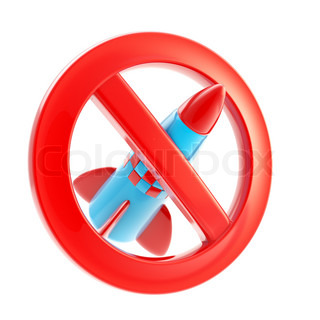 War forbidden rocket sign icon isolated on white