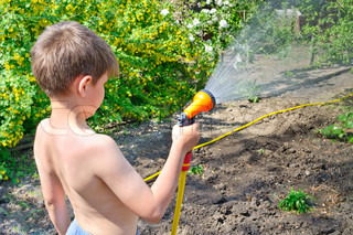 Boy watering plants in the garden with a hose