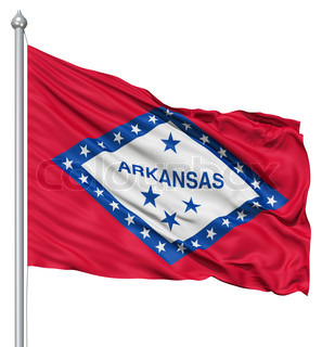 Waving Flag of USA state Arkansas