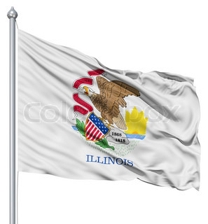 Waving Flag of USA state Illinois
