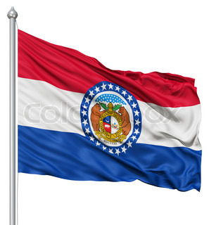 Waving Flag of USA state Missouri