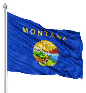 Waving Flag of USA state Montana