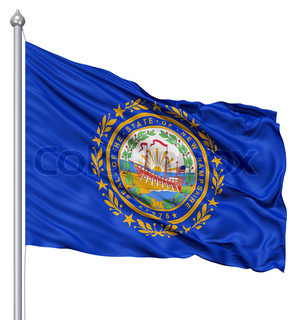 Waving Flag of USA state New Hampshire