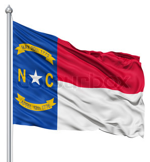 Waving Flag of USA state North Carolina