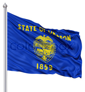Waving Flag of USA state Oregon