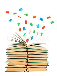 colorful letters flying out of an open book