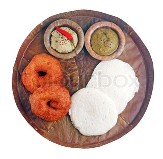 Indian cuisine fastfood idly,vada,chutney isolated
