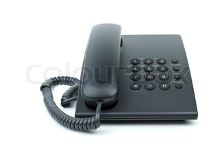 Modern black office phone isolated on the white background