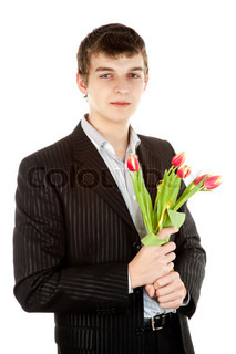 Businessman offering tulip