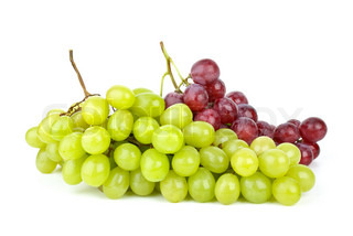 Green and pink grapes isolated on the white background