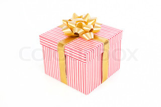 Single pink striped gift box with gold ribbon on white background