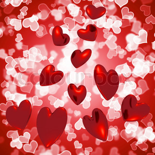 Hearts Falling With Bokeh Background Showing Love And Romance
