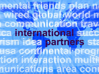 International Partners Words On Map Showing Globalization And Global Networking