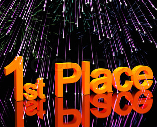 1st Place Word And Fireworks To Show Winning And Victory