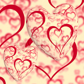Red Hearts Design On A Heart Background Showing Love Romance And Romantic Feelings