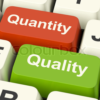 Quality And Quantity Computer Keys Showing Choice Between Excellence Or Number