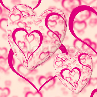 Pink Hearts Design On A Heart Background Showing Love Romance And Romantic Feelings