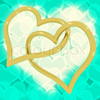 Gold Heart Shaped Rings On Turquoise Bokeh Representing Love And