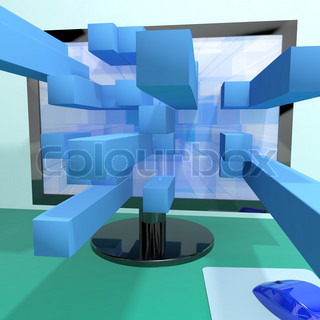 Three Dimensional Squares On Computer Monitor Showing 3d Graphics Software Or Illustrations