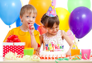 adorable children celebrating birthday party
