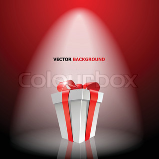 Gift box with red bow on light
