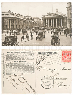 vintage post card London, The Bank and Royal Exchange