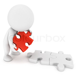 3d white people doing puzzle, he creates a link with the red piece, isolated white background, 3d image