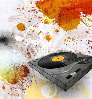 abstract grunge background, Illustration of a turntable