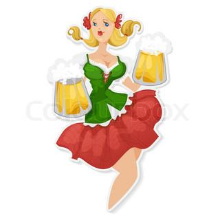 Oktober Fest Blondes Mädchen mit Bier