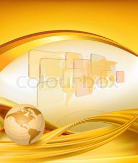 Business elegant gold background with globe  Vector illustration